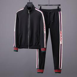 Wholesale jacket zipper pocket - 2018 brand new Men's Sportwear Suit Sweatshirt Tracksuit Without Men Casual Active Zipper Outwear Jacket+Pants Sets M-3XL
