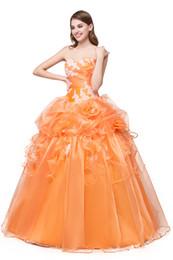 Vestido de bola de quinceañera vestidos 2018 Nuevo Sweatheart Ruffles naranja Debutante Sweet 16 niñas de fiesta vestidos de fiesta barato vestido de fiesta de cumpleaños desde fabricantes