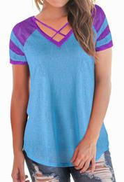 Wholesale Raglan Women - Women Raglan T shirt Summer Women V-Neck Short Top Patchwork Color Short Sleeves Female T Shirt
