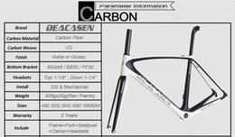 Wholesale 49cm road bike frame - Deacasen carbon high strong fiber T1000 carbon road frame cycling bicycle racing Frame+Fork+Seatpost+Headset+Clamp warranty 2 years