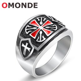 Wholesale Lucky Ring Red - New Arrival Brand Mens Stainless Steel Red Jesus Cross Ring Christian Crucifix Delicate Piercing Lucky Jewelry for Male Warrior