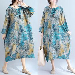 Wholesale Linen Dresses Large - Spring Women Dress Large Yard Flora Printed Women Dress Crew Neck Long Sleeves Loose Knee Length Lady Dress