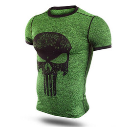 punisher schädelhemd Rabatt Mode Fitness Kompressionshemd Männer Punisher Schädel Aktive T-shirt Superheld Bodybuilding Enge Kurzarm T-shirt Marke Tops