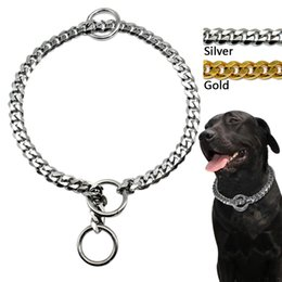 Wholesale Extra Strong - Wholesale-3mm Diameter Dog Choke Chain Choker Collar Strong Silver Gold Chrome Steel Metal Training 45cm Length