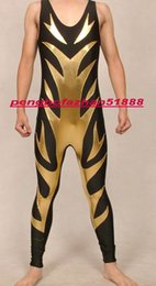costumi da wrestling Sconti Costumi unisex Wrestling Outfit Black / Gold Lycra Spandex Costumi Catsuit Wrestling Fantasy Wrestling Body Suit Halloween Cosplay Suit P257