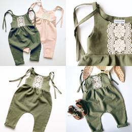 ropa de niña occidental Rebajas Everweekend Ins Niñas de Encaje Cabestro Verano Mamelucos Verde Rosa Color Occidental Niños Niñas Mamelucos Ropa