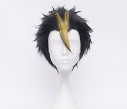 Мужские парики косплей онлайн-Бесплатно shippingNew короткие прямые черный косплей костюм парик для мужчин