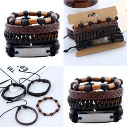 Wholesale Cuff Leather Bracelet Stones - Fashion Punk Style Braided Leather Suit Bracelets For Men Women Woven Cuff Volcanic Stone Beads Unisex Bracelet Free DHL D386S