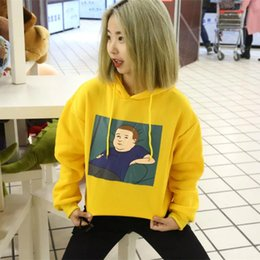 embroidered sweatshirts 2018 - Winter Yellow Halajuku Cartoon Printed Letter Hoodies Embroidered Velvet Thick Female Sweatshirts with A Hood Hot