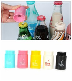 Wholesale beverage can opener - 1pc New Creative Drink Bottle Punch Creative 6.5mm Hole Drink Through A Strawer Juice Beverage Lid Straws DDA397