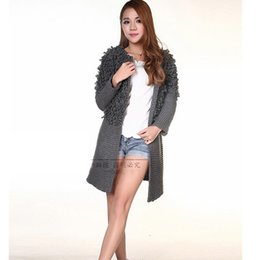 Wholesale Ladies Hooded Wool Coats - Wholesale- Winter ladies thick wool Thicken Zipper cardigan sweater coat Leisure Long style knitted cardigan Fashion Large size sweater