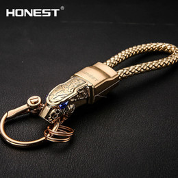 Wholesale Trendy Boys - Brand HONEST High Grade Men Key Chain Keychains Rhinestones Car Key Ring Holder Jewelry Bag Pendant Gift Genuine Leather Rope