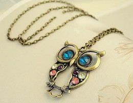 Wholesale Owl Ornaments - Brand New European and American personality ornaments, retro, tri color, hollowed owl, Long Necklace Pendant Chain Free shipping