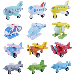 Wholesale Toy Jets - Colourful Wooden Aircraft Modle Toys 12pcs Mini Model Plane Children Toy Gift Many Styles New 47 5pd W