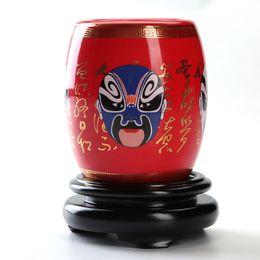 Portapenne in ceramica China Red e Yellow Beijing Opera National Essence da