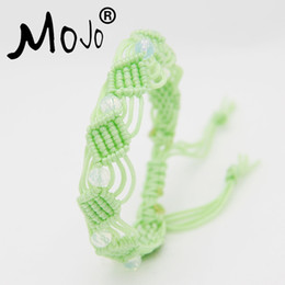 Wholesale crystal marketing - 5PCS Chinese Market New Popular Handmade Lovely Woven Light Green Cord Bracelets White Crystal Beads Bracelets Jewelry for Sale