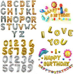 Wholesale balloon decor supplies - 32inch Letter Number Foil Balloons Birthday Wedding Party Decor Gold Silver Inflatable digital Ballons Party Supplies FFA585 200PCS