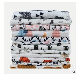 Wholesale Wholesale Printed Towels - Blankets Muslin Baby Swaddling Cotton Newborn Infant Blanket Baby Swaddles Gauze Bath Towel Newborns Blankets 22 Styles DHL Free Shipping