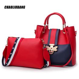 2018 Designer Crossbody Bag 2 pçs / set Moda Abelha Pérola Mulheres Sacos Do Mensageiro Bolsas Mulheres Famosas Marcas Tote Bolsa de Ombro-3637 de