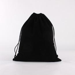 Logos de poche de cordon de velours en Ligne-10pcs / lot 25 * 30cm Noir Logo Personnalisé Imprimé Mariage Cordon De Velours Pochette Grand Sacs D'emballage