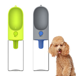 Wholesale health dogs - 400ml Portable Pet Dog Water Bottle Filter Travel Cups Drinking Bowls Dog Cat Health Feeding Plastic Water Feeders Free Shipping