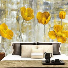 2019 painéis de absorção de som Personalizado Murais de Parede 3D Papel De Parede Estilo Europeu Retro Flor Abstrata Mural Art Sala de estar Quarto Não-tecido Pano De Fundo papel de Parede