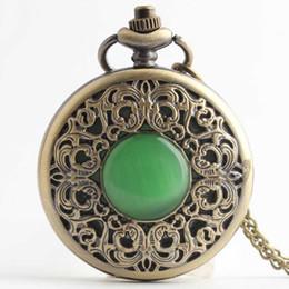 uhren quarzsteine Rabatt Retro Bronze Grün Stein Glas Taschenuhr mit Anhänger Halskette Kette Quarzwerk Mens fob Uhren Relogio De Bolso