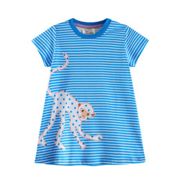 Wholesale American Kids Monkey - Baby Girl Dresses Animal Pattern Blue Striped Lovely Monkey Round Neck Cotton Excellent Quality Kids Clothes