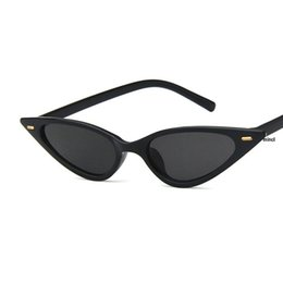 Сексуальные черные женские очки онлайн-Metal Frame Women Cat Sunglasses Cute Sexy Brand Designer Summer Retro Small Frame Black Red Punk Sun Glasses UV400 NX
