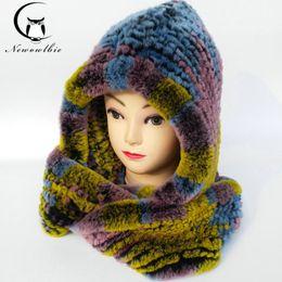 Bufanda de conejo de punto online-Wholesale- Hat Women 2017 Real Knitted Rex Rabbit Fur Hat Hooded bufanda Largo invierno cálido sombrero de piel con cuello cuello bufandas