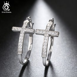 Wholesale Large Crystal Cross Wholesale - whole saleORSA JEWELS Silver Color Hoop Earrings for Women Large Cross Loop Paved Shiny Austrian Crystal Fashion Jewelry Earring OE142