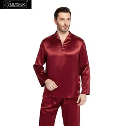253abf554c LILYSILK Silk Pajamas Set for Men Summer 22 momme Chinese Style Sleepwear