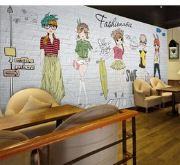 Wholesale Fashion House Clothes - Watercolor hand painted fashion girl large mural mall beauty nail clothing store restaurant wallpaper wallpaper 5d wall cloth