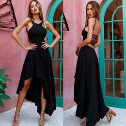 Wholesale Classy Backless Dresses - Sexy Classy Black Prom Dresses Custom Make High Low Halter Simple Charming Back Evening Gowns Formal Wear