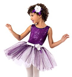 Concorrenza di ballo online-Balletto per bambini Vestito da ballo Performance Bambina Balletto Tutu Dress Perline viola Balletto Gonna Kids Stage Competition D-0465