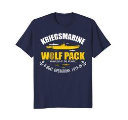 Wholesale U S T Shirts - 2018 Hot Sale 100% Cotton WW2 German U-boat Submarine T Shirt - Kriegsmarine Wolf Pack Summer Style Tee Shirt