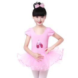 Traje de cisne online-Clásico Ballet Profesional Tutus Pink Swan Balett Costume Niños gimnasia leotardos para niñas bailan tutú faldas vestido