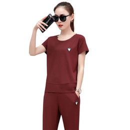 Wholesale ladies uniform pants - Leisure Women Suits 2018 Summer Round Neck Short Sleeve T-Shirt Match Pants Durable Two Piece Sets For Ladies Casual Clothes Girl Uniforms