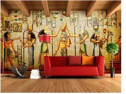 Wholesale Mediterranean Style Bedroom - 3d Stereo European Retro Art Egyptian Theme Bar Cafe Restaurant Large Wallpaper Wallpaper Living Room Wallpaper