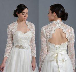 Wholesale Bride White Long Sleeve Shawl - 2018 vintage lace applique Long Sleeves Alecon Lace Bolero with Keyhole Back Bridal Jacket for Brides Wedding Wraps