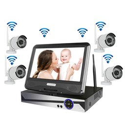"Wholesale Nvr Cameras - Wireless Surveillance System Network 10.1"" LCD Monitor NVR Recorder Wifi Kit 4CH 1080P HD Video Inputs Security Camera with 1TB HDD"