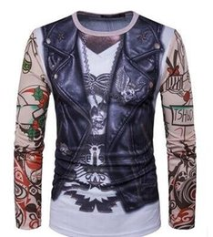 Wholesale Ripped Vest Top - Hot New Tops tees 2018 men t shirt style 3 d leather vest tattoo arm printing men long sleeve t-shirt collar Casual t-shirt men