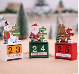 calendários dos desenhos animados Desconto Natal Mini Calendário De Madeira Ornamento de Natal Calendários De Natal Com Natal Dos Desenhos Animados Papai Noel Boneco De Neve Elk Para Decoração de Natal