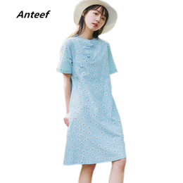 Vestiti della stampa floreale dell annata di tela di cotone di Anteef donne  casual vestito estivo midi abiti da donna abiti 2018 cc9faea2c89