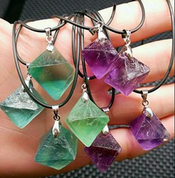 Wholesale Green Fluorite Crystal - Pure Natural Crystal Fluorite Octahedral Rough Stone Necklace Pendant Purple and green fluorite pendant Free shipping
