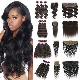 Wholesale u 26 - Peruvian Hair Bundles with Closure Straight Body Wave Hair Weave U Deserve Lace Front Deep Water Human Hair Kinky Curly Bundles with Frontal