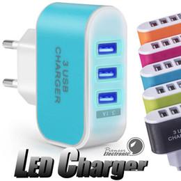 enchufe uk principal Rebajas Adaptador de enchufe de la UE de Estados Unidos 3 USB Cargadores de pared 5V 3.1A adaptador LED viaje cómodo de alimentación con triples puertos USB para el teléfono móvil