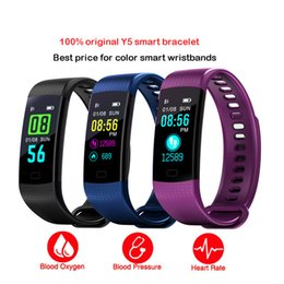 Wholesale remote control display - Bluetooth Smart Bracelet Y5 Smart Wirstband Color Display Call SMS App Push Fitness Tracker Health Tracker Smart Band