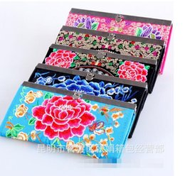 Wholesale Handmade Fabric Bags - 2017 Hot Women's national wind handmade wallet retro embroidery purse change coin storage bag