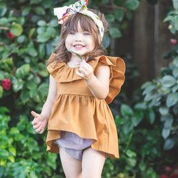 Wholesale Girls New Cotton Frocks - 2018 Summer new design european baby girl irregular sweep princess party dress kids soft cotton frocks